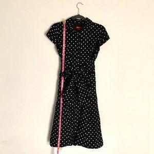 Black and white polka dot cap sleeve dress